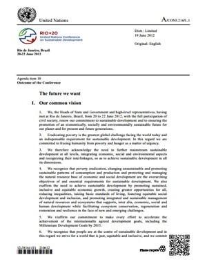 Primeira página do texto final publicado pela ONU, com numeração e código de barras. (Foto: Reprodução)